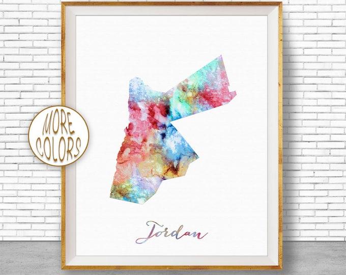 Jordan Map Art Jordan Print Watercolor Map Map Painting Map Artwork  Office Decorations Country Map ArtPrintZone