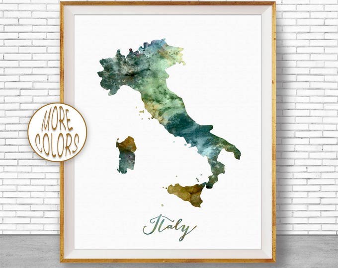 Italy Map Art Italy Print Watercolor Map Map Painting Map Artwork  Office Decorations Country Map ArtPrintZone
