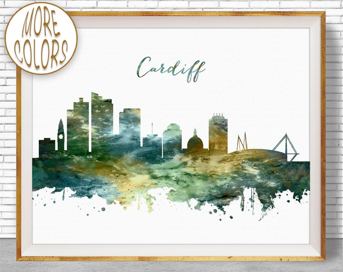 Cardiff Print, Cardiff Skyline, Cardiff United Kingdom, Office Art, Watercolor Skyline, Watercolor City Print, ArtPrintZone