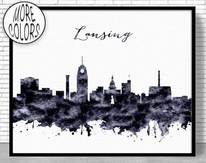 Lansing Print Lansing Skyline Lansing Michigan Office Decor City Wall Art Watercolor Skyline Watercolor City Print ArtPrintZone