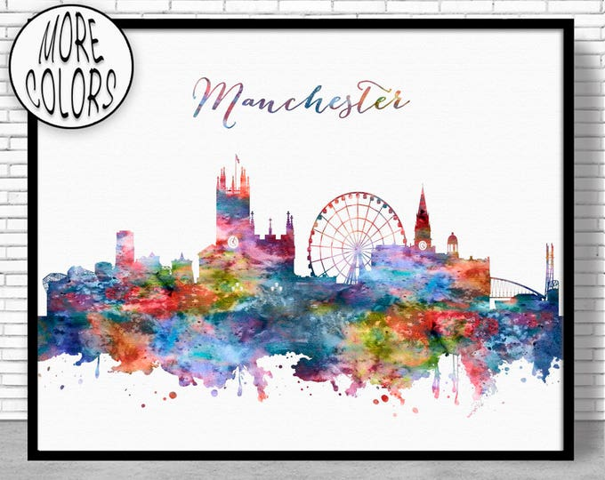 Manchester Print, Manchester Skyline, Manchester United Kingdom, Office Art, Watercolor Skyline, Watercolor City Print, ArtPrintZone