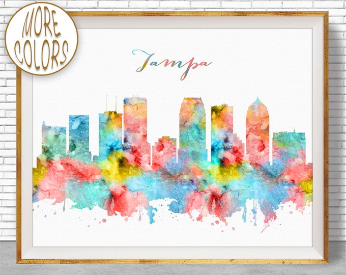 Tampa Art Print Tampa Print Tampa Skyline Tampa Florida Office Decor City Skyline Prints Skyline Art ArtPrintZone