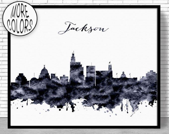 Jackson Print Jackson Skyline Jackson Mississippi Office Decor Office Art Watercolor Skyline Watercolor City Print ArtPrintZone