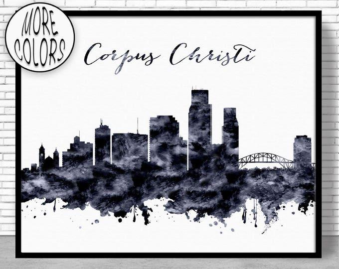 Corpus Christi Print Corpus Christi Skyline Corpus Christi Texas Office Prints Office Art Watercolor Skyline City Poster ArtPrintZone