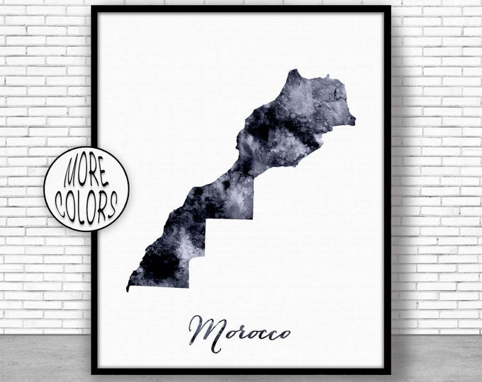 Morocco Print Watercolor Map Morocco Map Print Office Wall Decor Office Wall Art Living Room Art Map Decor Map Wall ArtPrintZone