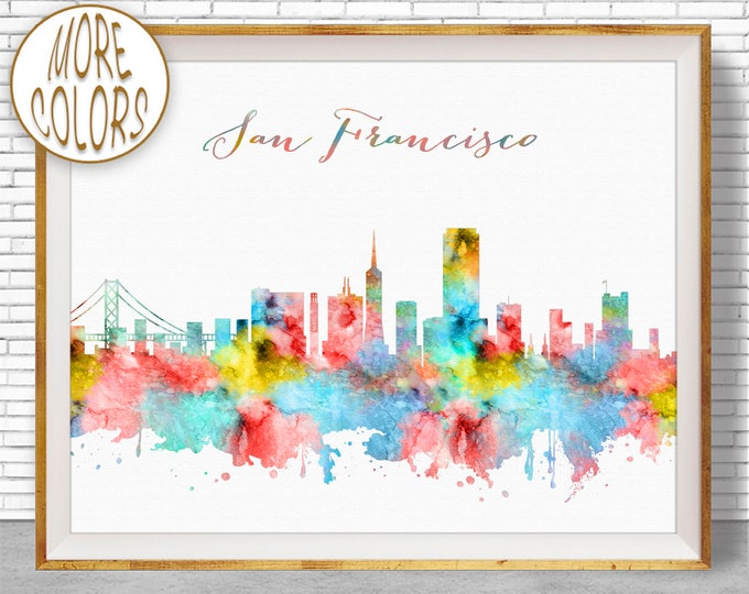 San Francisco Art San Francisco Skyline San Francisco Print San Francisco California Skyline Art ArtPrintZone
