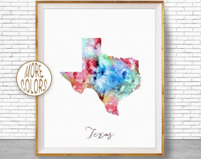 Texas Print Texas Art Print Texas Decor Texas Map Art Print Map Artwork Map Print Map Poster Watercolor Map Office Art Print ArtPrintZone