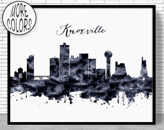 Knoxville Print Knoxville Tennessee Knoxville Skyline Office Prints Office Art Travel Poster Travel Art Prints ArtPrintZone Gift for Women