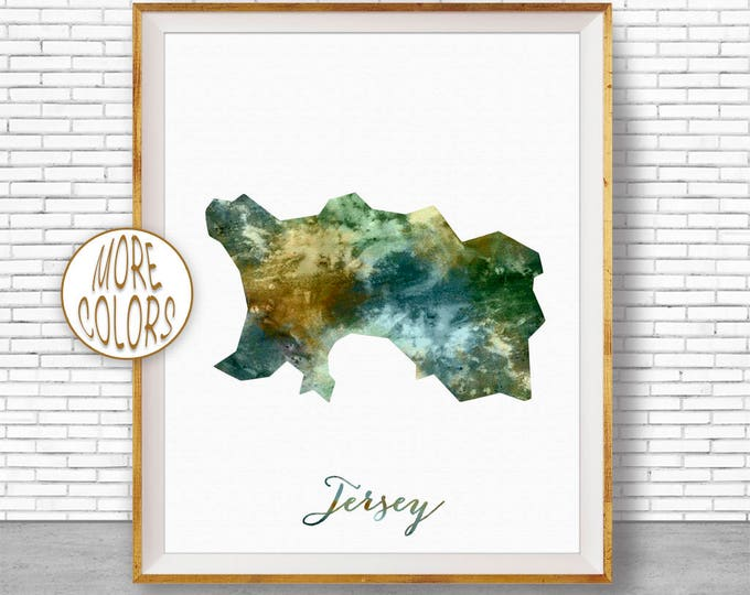 Jersey Map Art Jersey Print Watercolor Map Map Painting Map Artwork  Office Decorations Country Map ArtPrintZone
