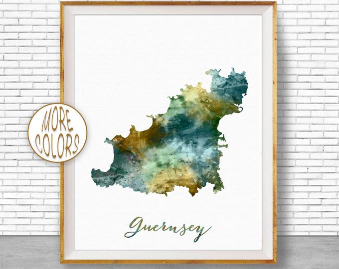 Guernsey Map Art Guernsey Print Watercolor Map Map Painting Map Artwork  Office Decorations Country Map ArtPrintZone