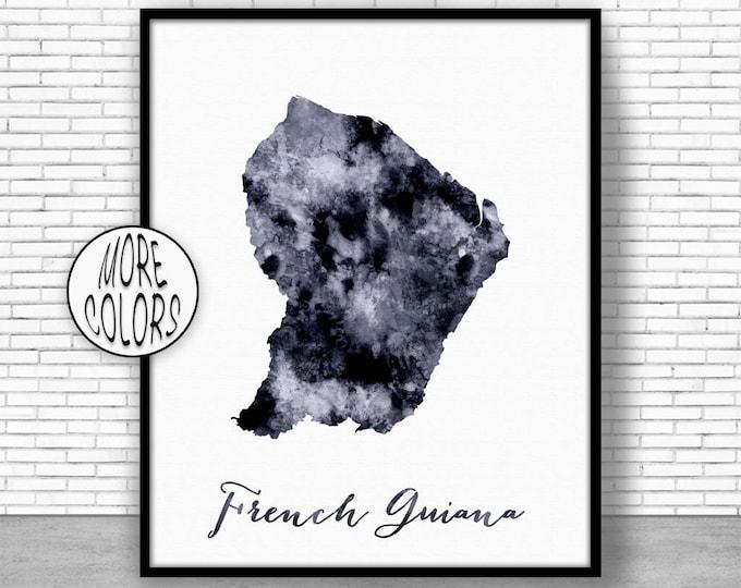 French Guiana Print Office Art Print Watercolor Map Map Print Map Art Map Artwork Office Decorations Country Map ArtPrintZone