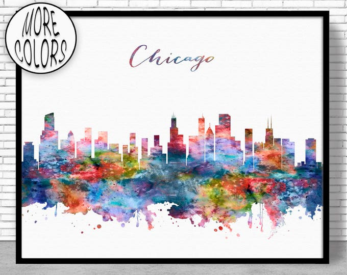 Chicago Skyline Chicago Print Chicago Illinois Office Prints Office Art Travel Poster Watercolor City Print  Moving Gift ArtPrintZone