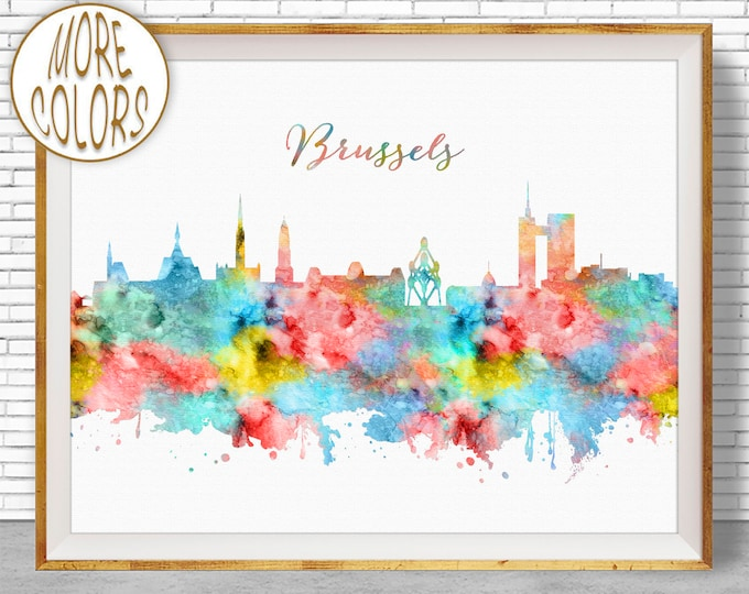 Brussels Skyline, Brussels Print, Brussels Belgium, Office Decor, Office Art, Watercolor Skyline, Watercolor City Prints, ArtPrintZone