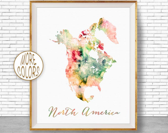 North America Map USA Map Wall Art Print North America Print Map of North America Travel Map Travel Decor Office Decor Office Wall Art