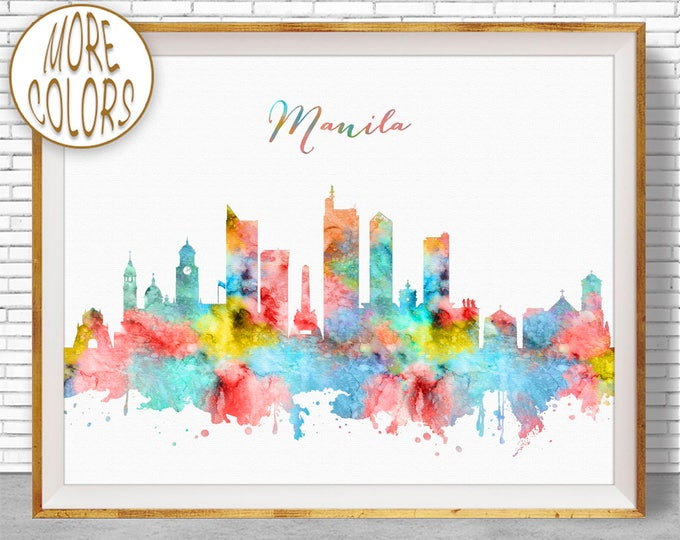 Manila Print, Manila Skyline, Manila Philippines, Office Decor, Office Art, Watercolor Skyline, Watercolor City Print, ArtPrintZone