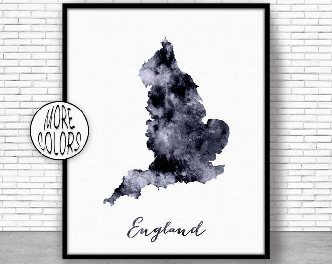 England Print Watercolor Map England Map Art Map Painting Map Artwork  Office Decorations Country Map ArtPrintZone