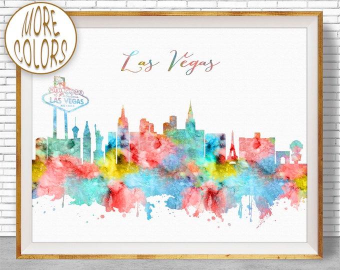 Las Vegas Art Las Vegas Skyline Las Vegas Print Las Vegas Nevada Office Prints Watercolor Skyline Watercolor City Print ArtPrintZone