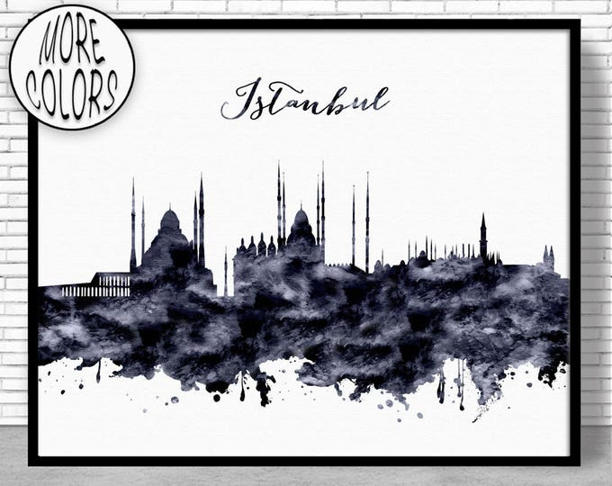 Istanbul Print Istanbul Skyline Istanbul Turkey Office Decor City Wall Art Watercolor Skyline Watercolor City ArtPrintZoneGift for Women