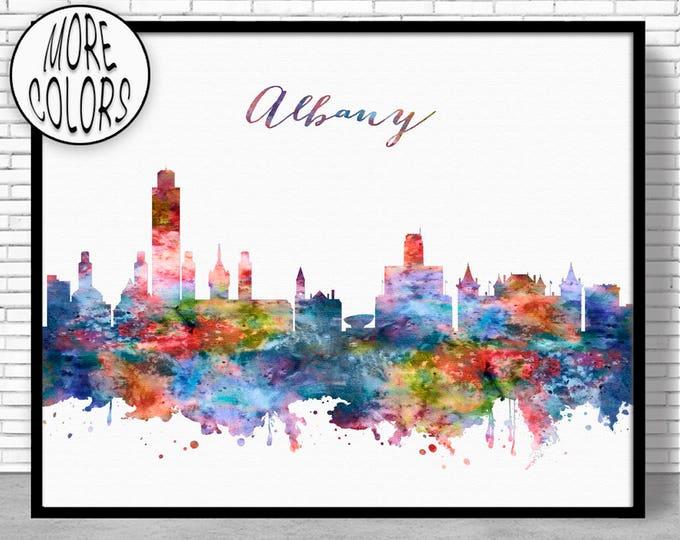 Albany Skyline Albany Print Albany NY Albany New York Office Decor Office Art Watercolor Skyline Watercolor City Print ArtPrintZone