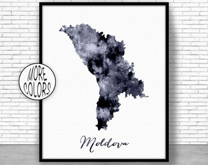 Moldova Print Watercolor Map Moldova Map Art Map Painting Map Artwork  Office Decorations Country Map ArtPrintZone