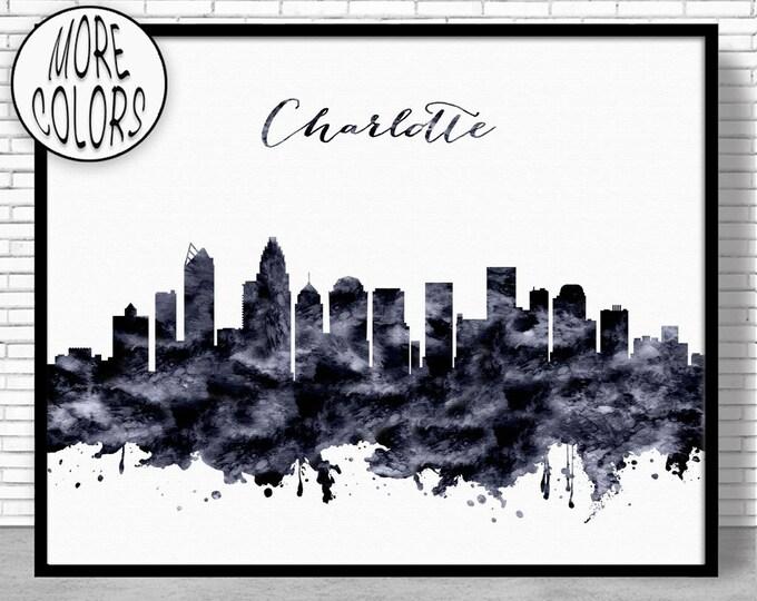 Charlotte Print Charlotte Skyline Charlotte North Carolina Office Decor Office Art Watercolor Skyline Watercolor City Art ArtPrintZone