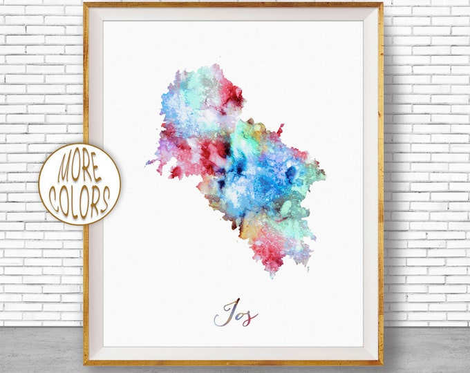 Ios Greece Ios Print Ios Map Art Watercolor Map Painting Office Decorations Country Map ArtPrintZone
