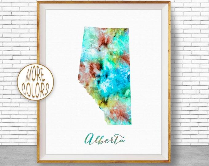 Alberta Map Art Alberta Print Alberta Art Print Watercolor Map Print Map Painting Office Decorations Country Map ArtPrintZone
