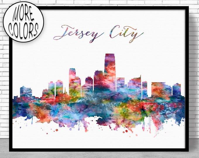 Jersey City Skyline Jersey City Print New Jersey City Wall Art Office Art Watercolor Skyline Watercolor City Print ArtPrintZone