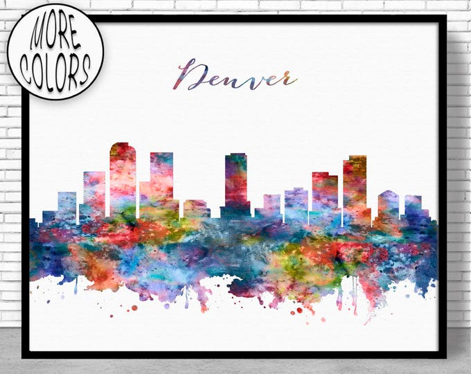 Denver Skyline Denver Print Denver Colorado Office Decor Office Art Watercolor Skyline Watercolor City Print ArtPrintZoneGift for Women