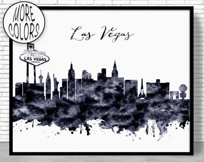 Las Vegas Print Las Vegas Skyline Las Vegas Nevada Office Decor Office Art Watercolor Skyline Watercolor City Print ArtPrintZone