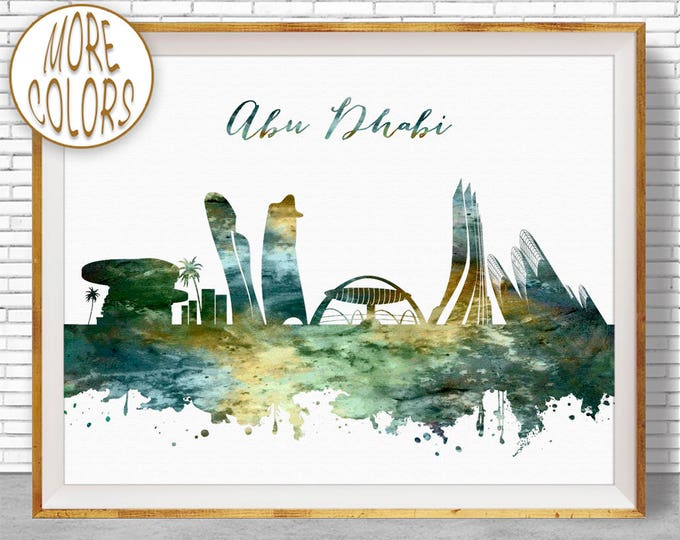 Abu Dhabi Skyline, Office Decor, Abu Dhabi Print, Abu Dhabi UAE, Office Art, Watercolor Skyline, Watercolor City Print, ArtPrintZone