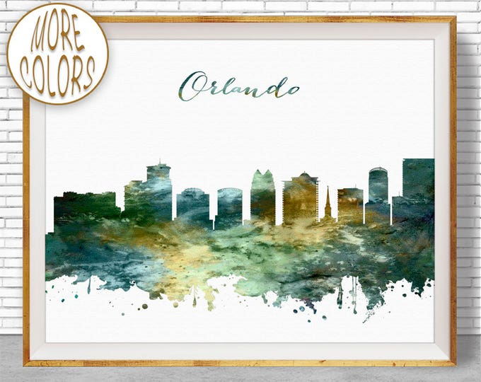 Orlando Print Orlando Skyline Orlando Florida City Wall Decor Office Prints Travel Art Skyline Art Office Poster ArtPrintZoneGift for Women