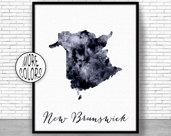 New Brunswick Print Office Art Print Watercolor Map Print Map Art Map Artwork Office Decorations Country Map ArtPrintZone