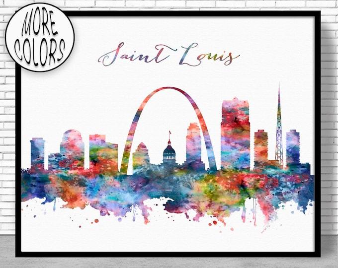 Saint Louis Skyline Saint Louis Print Saint Louis Missouri Office Decor City Skyline Prints Skyline Art ArtPrintZone