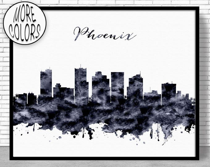 Phoenix Print Phoenix Skyline Phoenix Arizona City Wall Art Office Posters City Skyline Prints Skyline Art ArtPrintZone