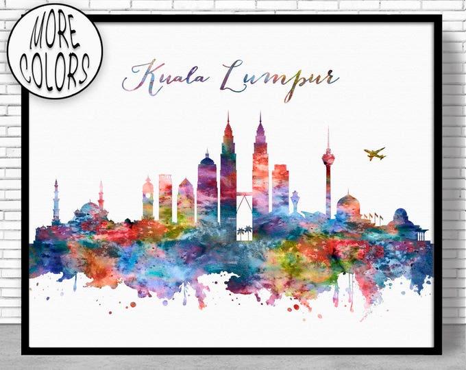 Kuala Lumpur Print, Kuala Lumpur Skyline, Kuala Lumpur Malaysia, Office Decor, Office Art, Watercolor Skyline, City Prints, ArtPrintZone