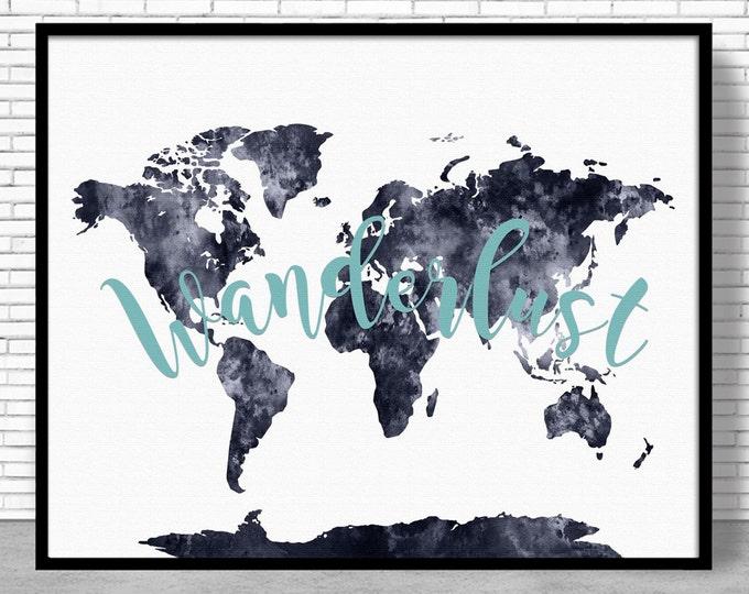 World Map Print Wanderlust Decor Wanderlust Poster Wanderlust Art Wanderlust Print Wanderlust Wall Art Wanderlust ArtPrintZone