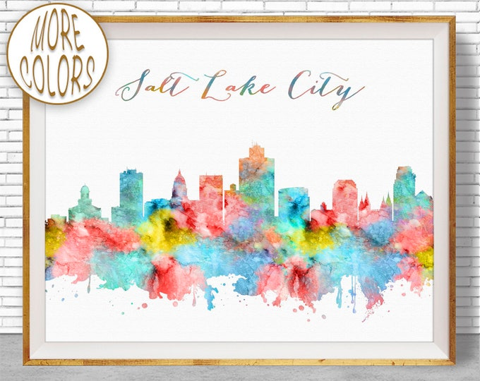 Salt Lake City Print Salt Lake City Utah Salt Lake City Skyline City Skyline Prints Skyline Art ArtPrintZone