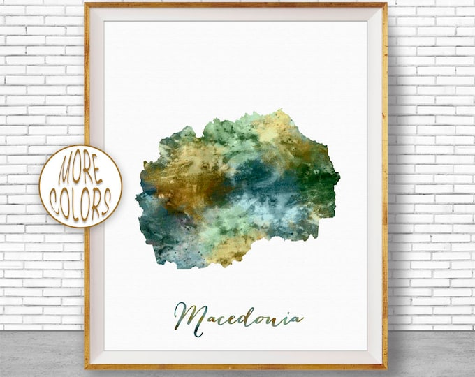 Macedonia Map Art Macedonia Print Watercolor Map Map Painting Map Artwork  Office Decorations Country Map ArtPrintZone