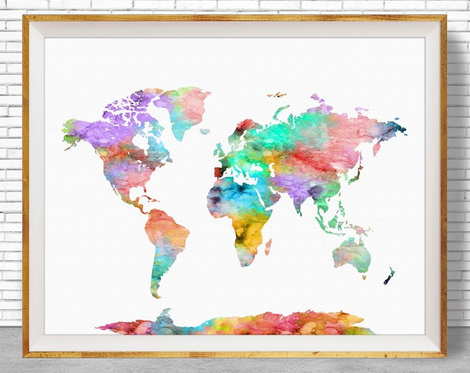 World Map Print World Print World Map Wall Art World Map Poster Office Prints Office Art Travel Poster Travel Art Prints ArtPrintZone