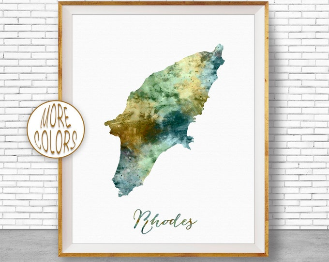 Rhodes Print, Rhodes Map Art, Greek Islands, Rhodes Greece Watercolor Map Map Painting Office Decorations Country Map ArtPrintZone