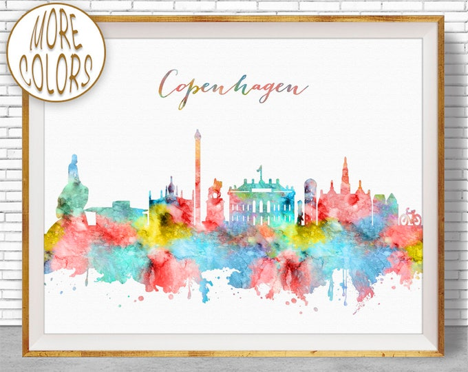 Copenhagen Print, Copenhagen Denmark, Copenhagen Skyline, Office Decor, Office Art, Travel Art, Watercolor City Print, ArtPrintZone