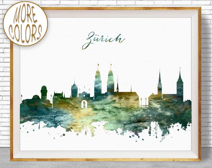 Zurich Print, Zurich Skyline, Zurich Switzerland, Office Decor, Office Art, Watercolor Skyline, Watercolor City Prints, ArtPrintZone
