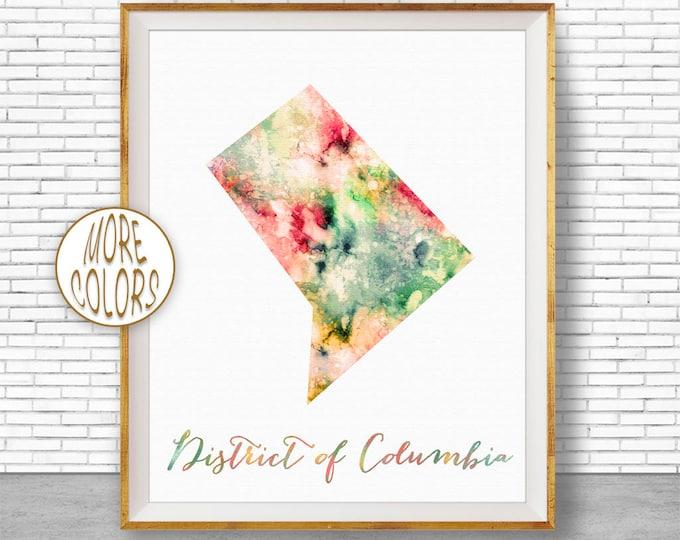 District of Columbia Map Print Art Print Map Art Print Map Artwork Map Poster Watercolor Map ArtPrintZone