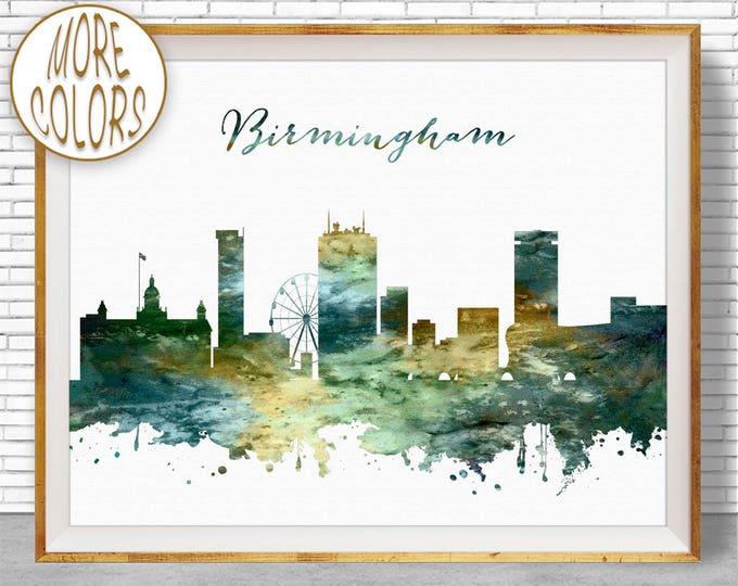 Birmingham Skyline Birmingham Print Birmingham United Kingdom Office Decor, Office Art, Travel Poster, Watercolor City Posters, ArtPrintZone