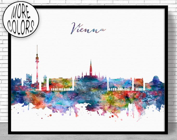 Vienna Print, Vienna Skyline, Vienna Austria, Office Wall Art, City Skyline Prints, Skyline Art, Cityscape Art, ArtPrintZone