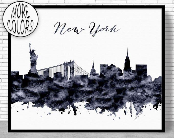 New York Print New York Skyline New York Poster New York Art Print City Skyline Prints Office Wall Art Office Poster ArtPrintZone