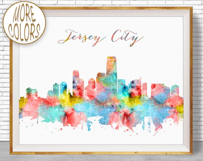 Jersey City Skyline Jersey City Art Print New Jersey City Wall Art Office Art Watercolor Skyline Watercolor City Print ArtPrintZone