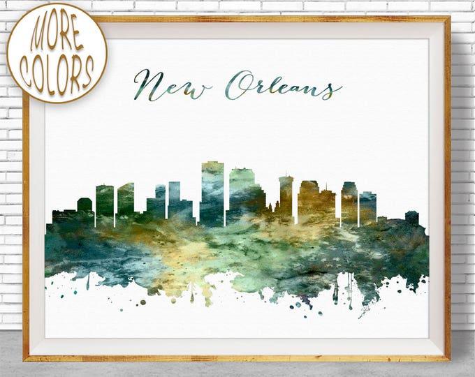 New Orleans Print New Orleans Skyline New Orleans Louisiana City Wall Art Office Wall Decor Skyline Art ArtPrintZone