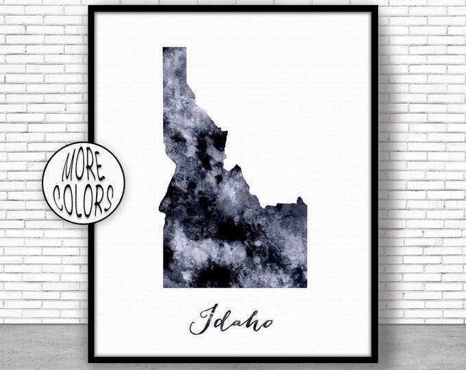 Idaho Art Print Idaho Decor Idaho Print Idaho Map Art Print Map Artwork Map Print Map Poster Watercolor Map ArtPrintZone